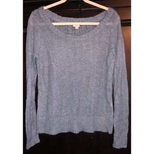 AEO Thin Blue-Grey Fuzzy Sweater; so cute so warm!